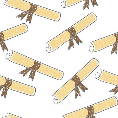 Graduation seamless hand drawn Pattern. Cute design. Vector Illustration