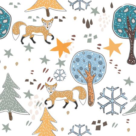 Seamless Pattern with cute hand drawn Fox. Scandinavian Style.