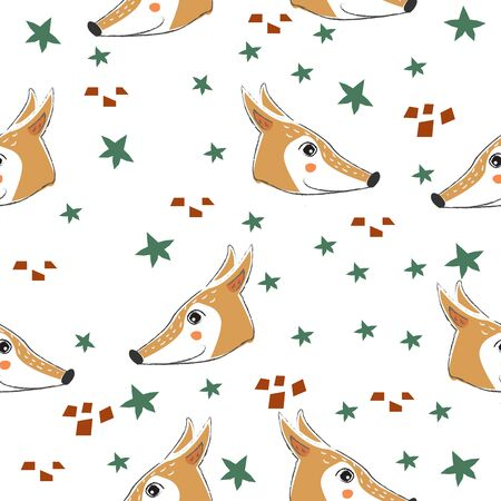 Seamless Pattern with cute hand drawn Fox (Heads). Scandinavian Style. Vector Illustration Иллюстрация