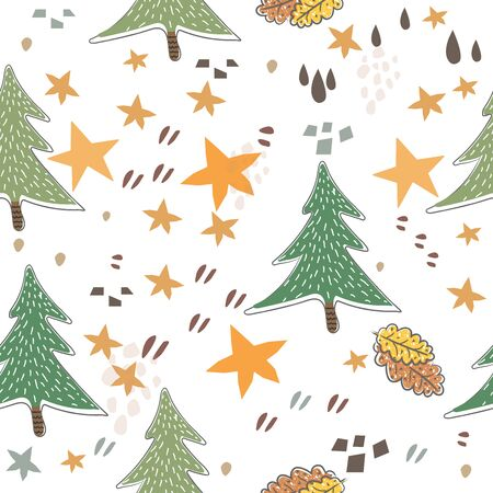 Seamless Pattern with Cute Trees. Scandinavian Style. Иллюстрация