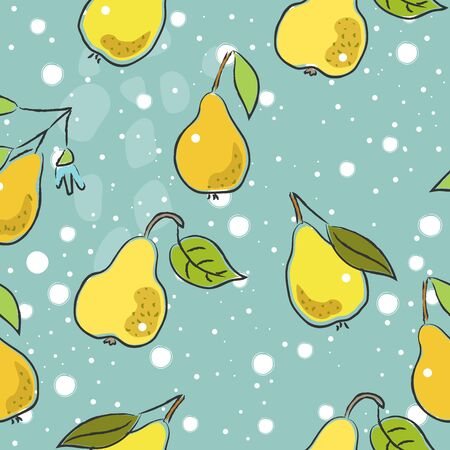 Seamless Pattern with Cute Hand Drawn Pears. Scandinavian Style. Vector Illustration Иллюстрация