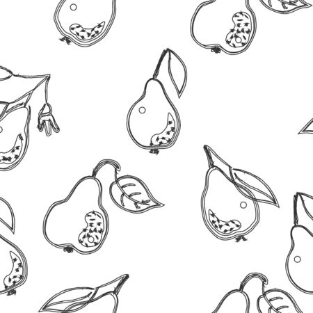 Seamless Pattern with Cute Hand Drawn Pears. Scandinavian Style.