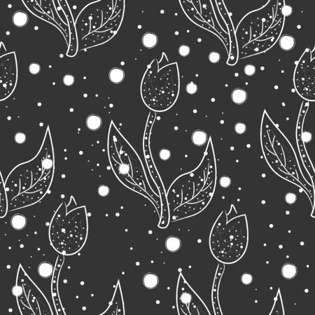 Seamless Hand Drawn Floral Pattern. Lovely Delicate Design. Repeating sweet design.