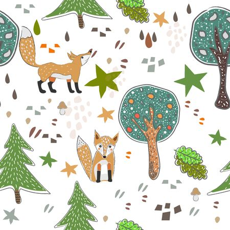 Seamless Pattern with cute hand drawn Fox. Scandinavian Style. Vector Illustration