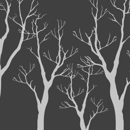 Trees with no leaves. Continuous Pattern. Partly Seamless. Vector Illustration
