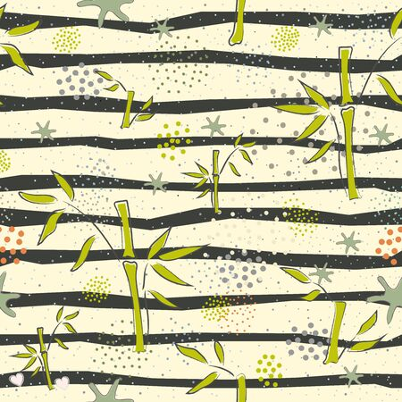 Cute Pattern with hand drawn Bamboo. Scandinavian Creative Style. Иллюстрация