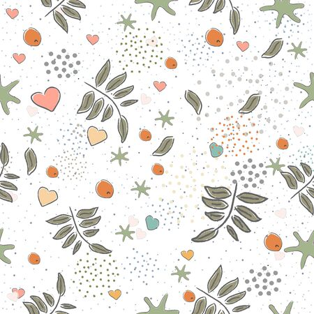 Seamless Cute Pattern with colorful leaves. Scandinavian Style. Vector Illustration.