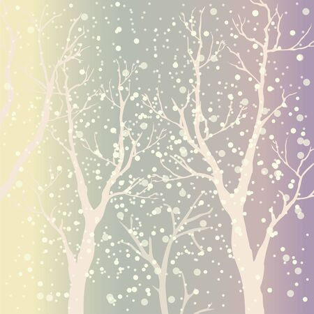 Subtle Colored Teal Background with moderately transparent silhouettes of trees. Vector Illustration