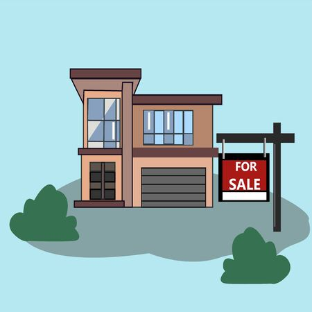 House with For Sale Sign. Picture. Real Estate Sign to advertise a house listing. Basic Sign Sold in front of a modern House. Vector Illustration