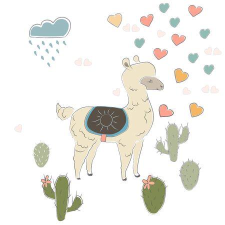 Cute Alpaca. Vector Illustration