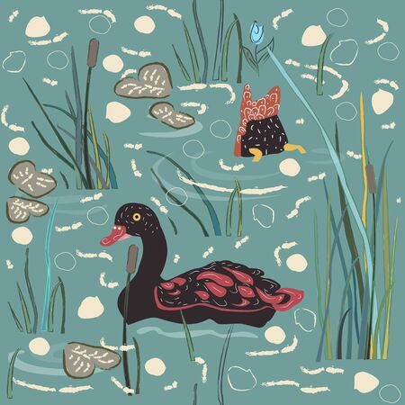 Duck Bird Seamless Pattern. Ducks on the lake. Vector Illustration Ilustração