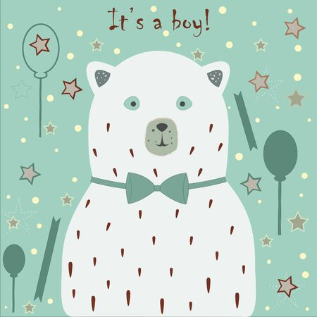 Baby Boy Birth announcement. Baby shower invitation card. Cute White Bear announces the arrival of a baby boy. Card Design with message. Blue Background with festive balloons, ribbons and stars. Çizim