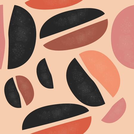 Cute Seamless Scandinavian Terracotta Pattern in modern colours. Ovals and round shapes Modern abstract art for prints. Nordic Design.