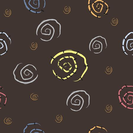 Cute Seamless Pattern with Spirals and Stars. Vector Illustration.