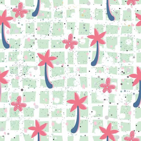 Seamless pattern with palms on sandy surface. Vector Illustration