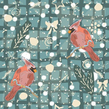 Seamless Winter Pattern with winter doodles and red cardinal birds on blue background. Vector Illustration