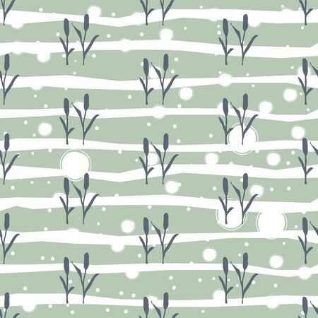 Seamless Pattern with dark silhouette of reed on white background. Repeating Pattern. Vector Illustration