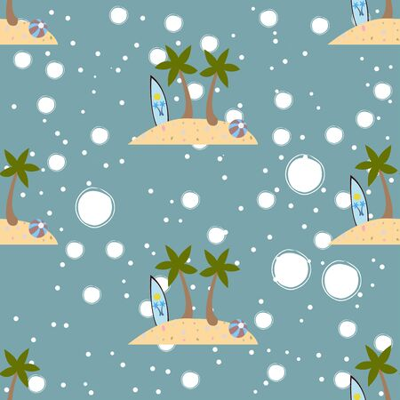 Seamless summer pattern with isolated island, surfing board, two palms and ball on white background. Repeating Summer Pattern. Vector Illustration