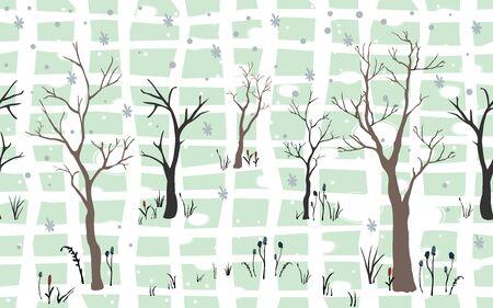 Silhouettes of Trees on subtle background. Tree Pattern. Vector illustration Illusztráció