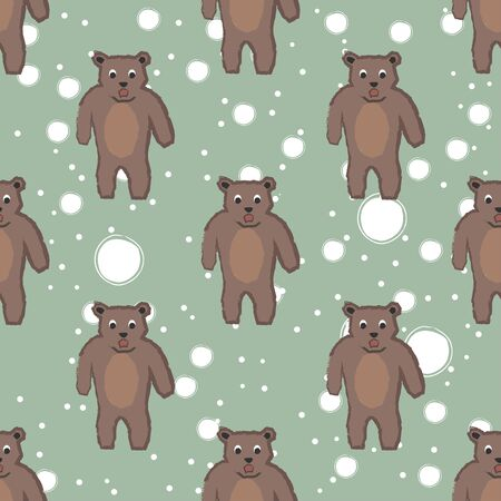 Seamless childish pattern with funny character of bear. Repeating pattern. Kids Fashion. Vector Illustration Ilustração