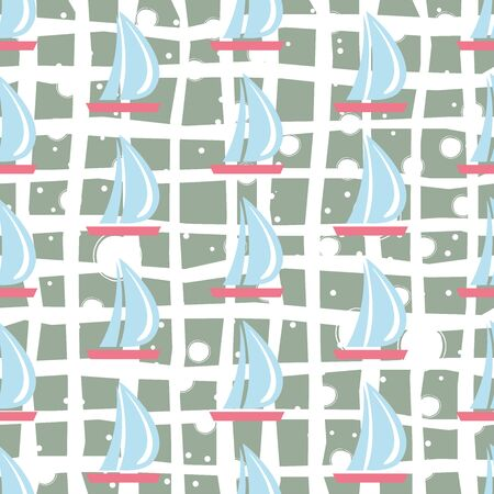 Seamless pattern with sail boats on white background.Great for wall art design, gift paper, wrapping, fabric, textile, etc. Vector Illustration