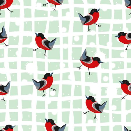 Bird Seamless Pattern. Bullfinch birds on a dark. Winter Merry Christmas Collection.Vector Illustration.