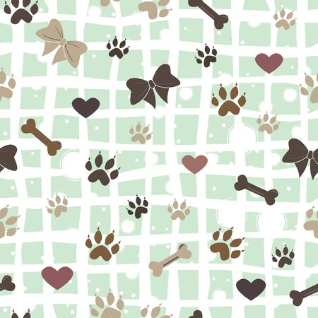 Seamless Dog Paw Pattern. Vector Illustration Illustration