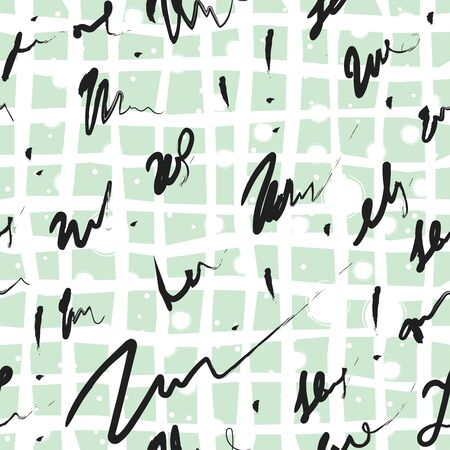 Vector scribble seamless pattern. Ink scribble continuous background on whit. Vector Illustration