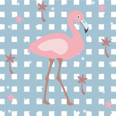 Creative Summer Pattern with exotic bird flamingo on stripped background with palms and stars. Vector Illustration Иллюстрация