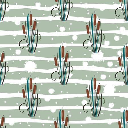 Seamless pattern with bushes of reed on white. Vector Illustration