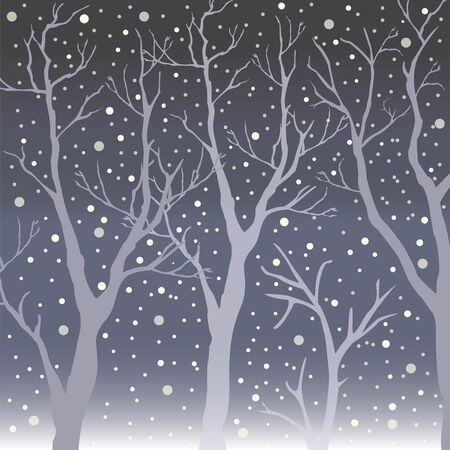 Winter Trees Background. Winter landscape with trees, snow. Snow In Forest. Season Nature. Vector Illustration.