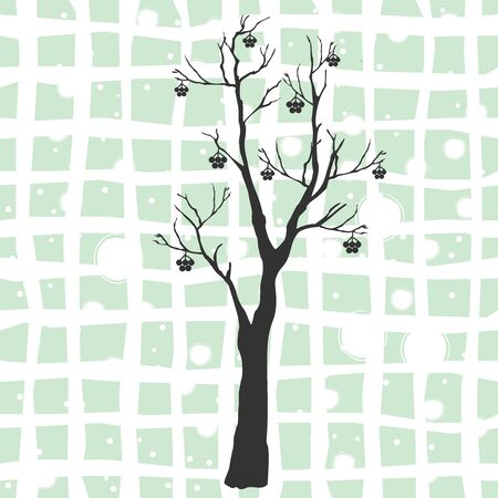 Silhouette of a rowan tree with berries. Rowan Icon Vector Illustration