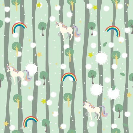 Unicorn Seamless pattern with decorative elements. Vector Illustration.
