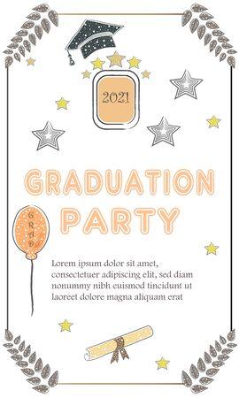 Graduation Ceremony Announcement. Rich Golden Style with golden glitter elements. Congratulations Graduates.