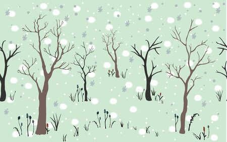 Seamless Pattern with beautiful trees. Vector Illustration Illusztráció