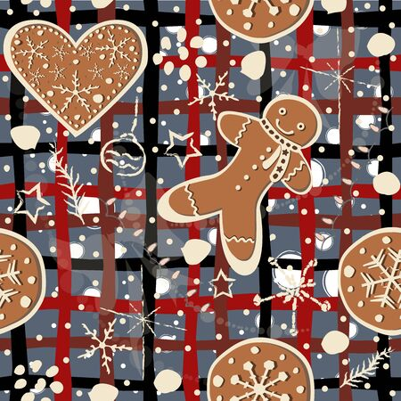 Cute Seamless Winter Background with gingerbread cookies. Winter Illustration.