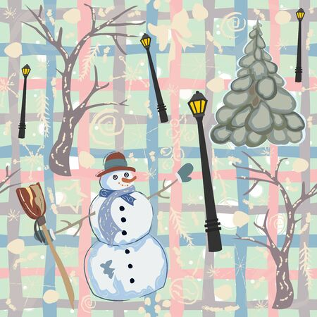 Seamless Winter Pattern with Snowman and spruce trees. Vector Illustration 일러스트