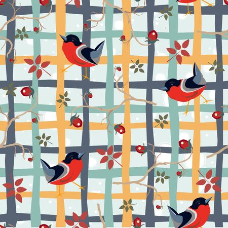 Bird Seamless Pattern. Bullfinch birds on a dark background with red berries of rowan and brier. Winter/Merry Christmas Collection.Vector Illustration.