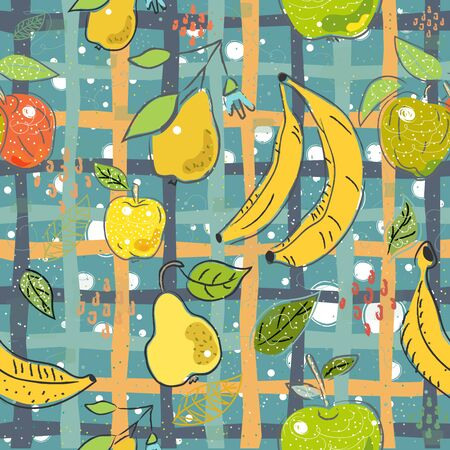 Seamless Pattern with Hand Drawn Cute Fruits. Scandinavian Style. Vector Illustration Zdjęcie Seryjne - 138621612