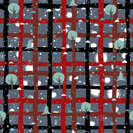 Seamless Tree Pattern for Winter Themes. vector Illustration