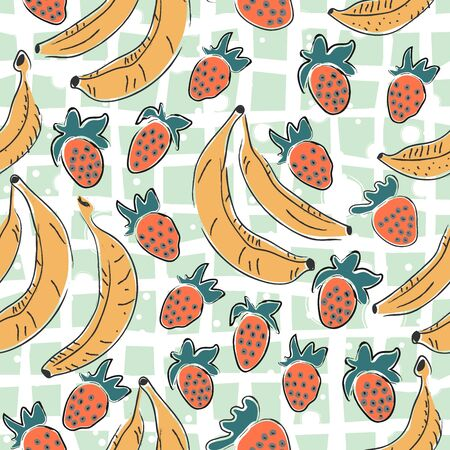 Dotted Background. Seamless Pattern with Bananas. Scandinavian Style. Fruits.