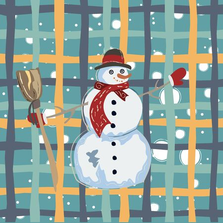 Happy Character of Snowman on a cute winter background with doodles. Unique Delicate Design.   Illustration