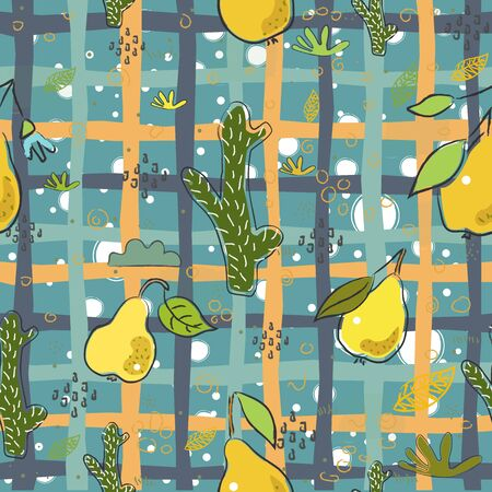 Seamless Pattern With Hand Drawn Cacti and Fruits(banana). Hand Drawn Scandinavian Style. Vector Illustration
