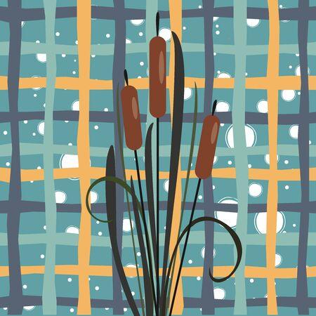Bush of Swamp Reed on a Lake. vector Illustration Ilustração