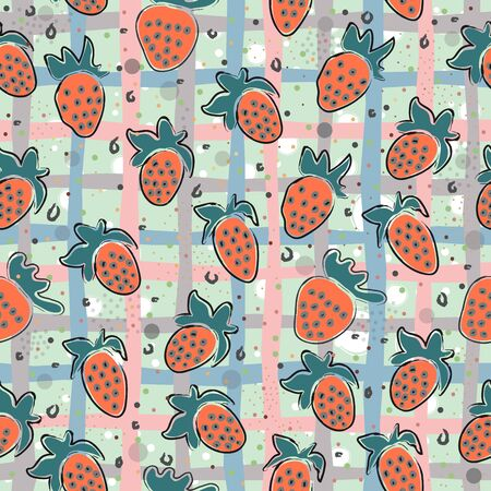 Seamless Pattern With Hand Drawn Strawberries. Hand Drawn Scandinavian Style. 写真素材