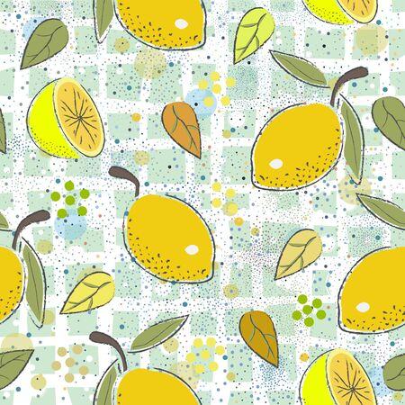 Seamless Pattern with cute lemons. Scandinavian Hand Drawn Style.