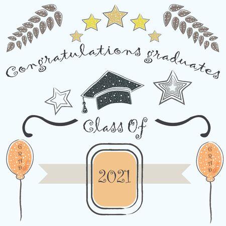 2018届毕业生。祝贺你毕业。黑色背景与金色元素。金毕业集合。矢量图