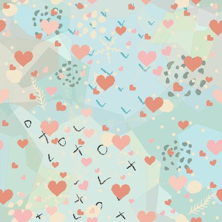 Seamless Pattern with Cute Cherries, pears on cute background. Scandinavian Style. 写真素材