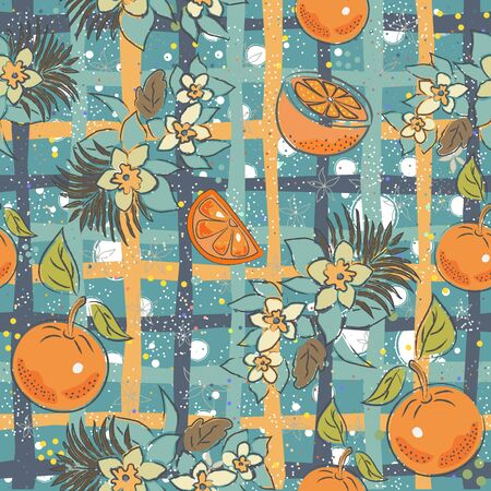 Seamless Pattern with Oranges and Bananas. Scandinavian Style. Vector Illustration