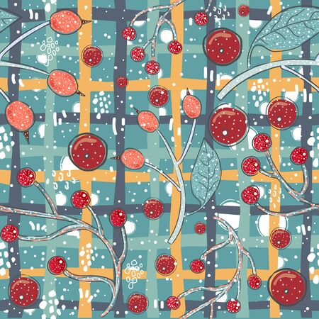 Seamless Winter Pattern. Merry Christmas Texture. Vector Illustration